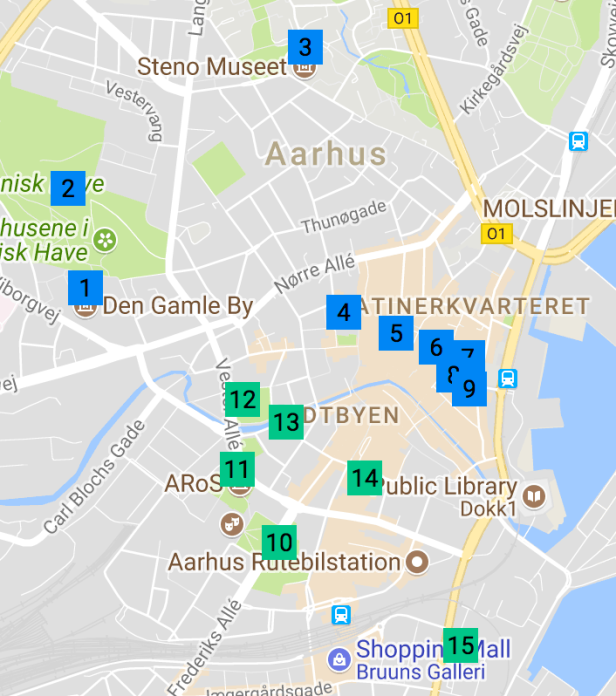 Map of Things to do in Aarhus